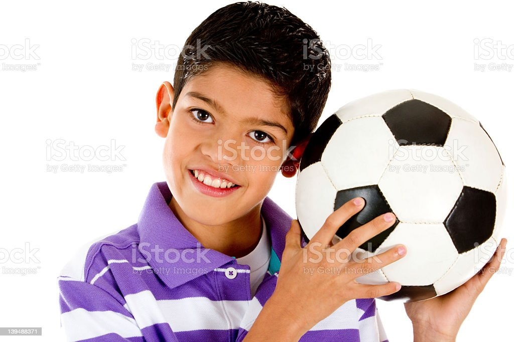 Boy with a football royalty-free stock photo