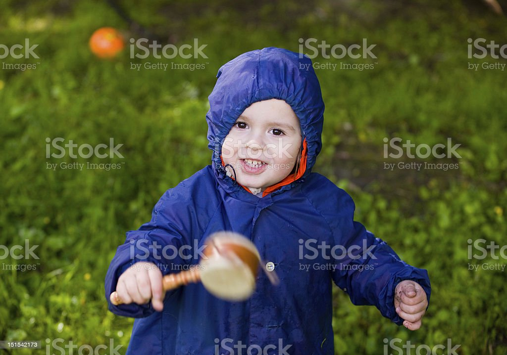 boy with a musical toy stock photo