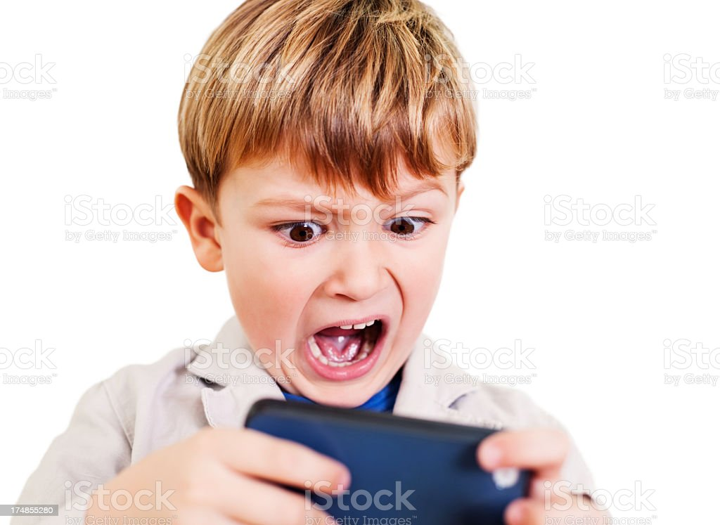 Boy with a smartphone royalty-free stock photo
