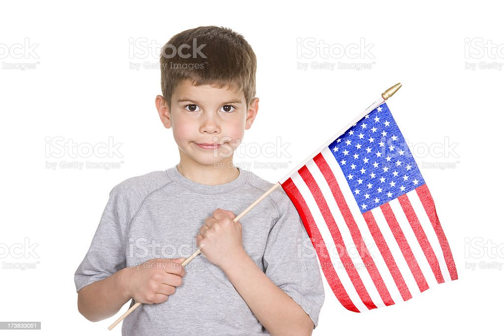 Boy with American Flag stock photo