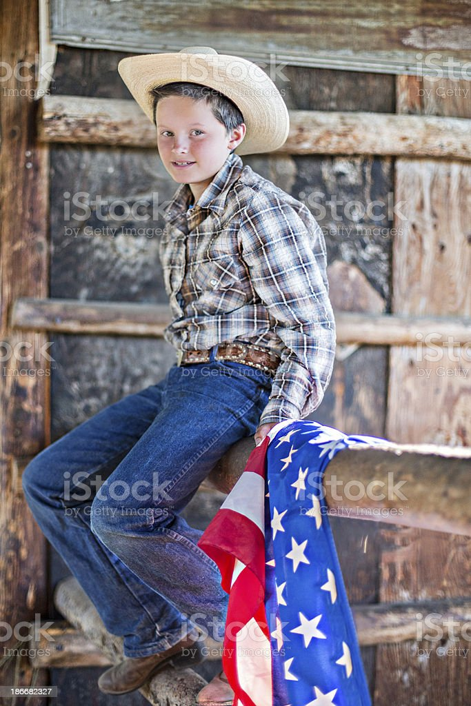 Boy with american flag royalty-free stock photo