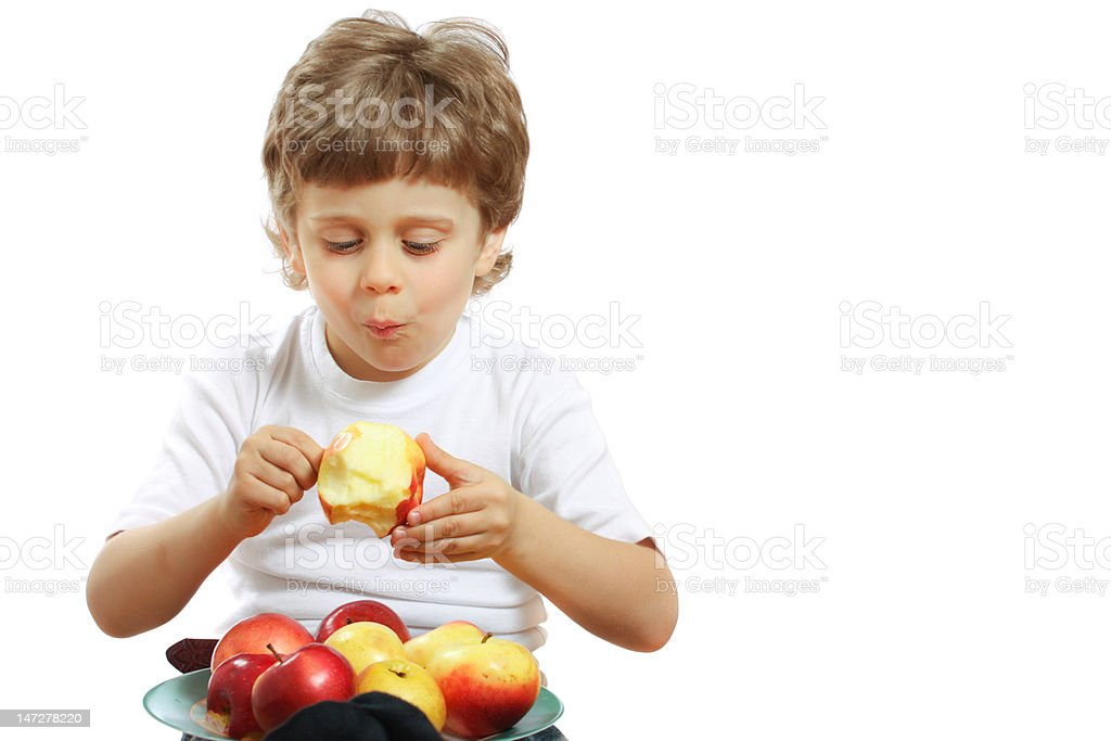 boy with an apple royalty-free stock photo