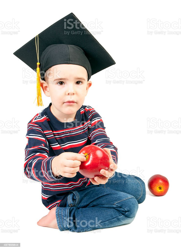 Boy with apples. stock photo