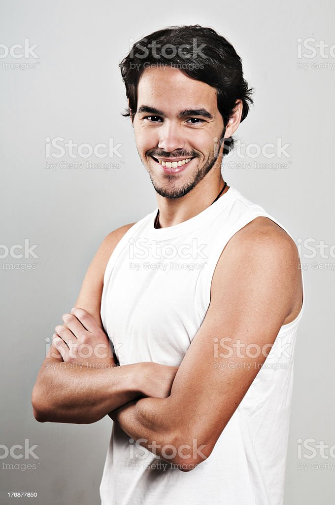 Boy with arms crossed stock photo