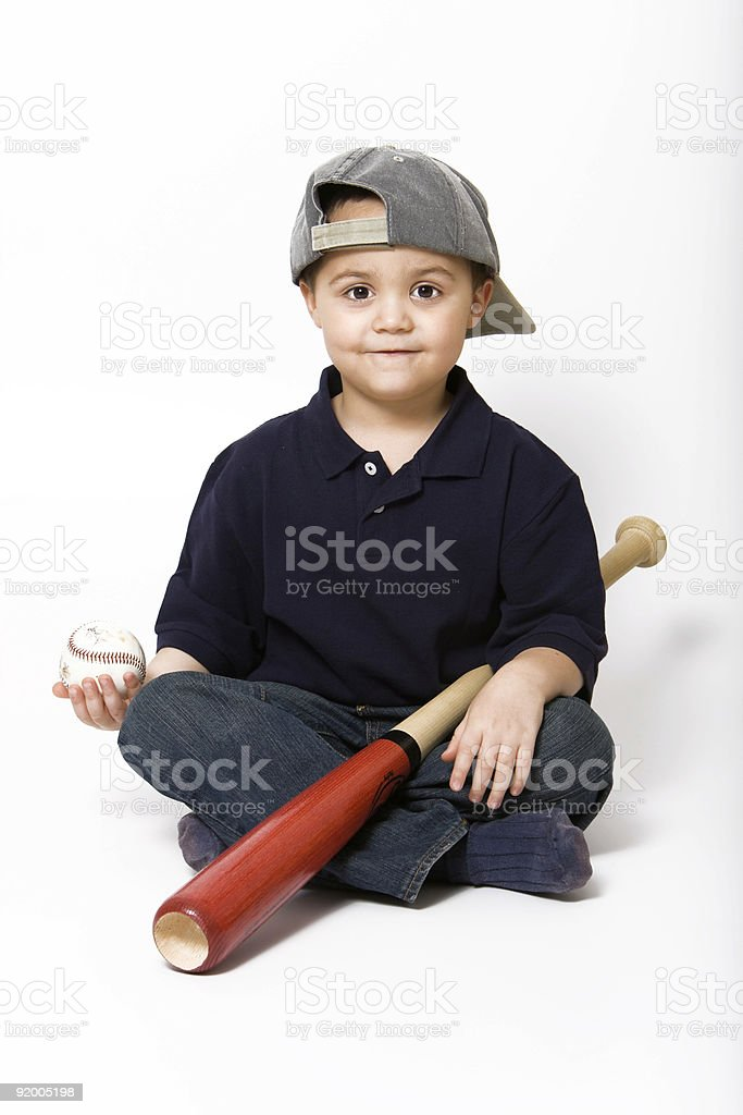 Boy with baseball bat stock photo