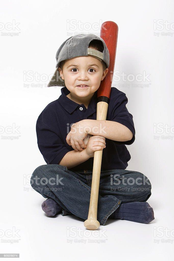 Boy with baseball bat stock photo