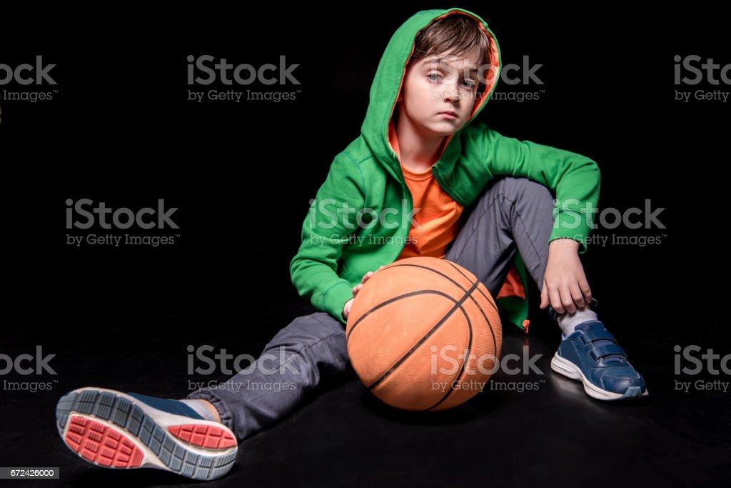 boy with basketball ball stock photo