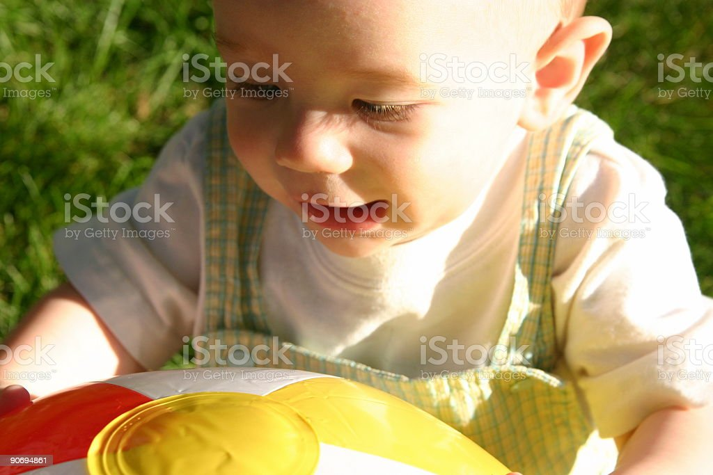 Boy with Beach Ball #3 royalty-free stock photo