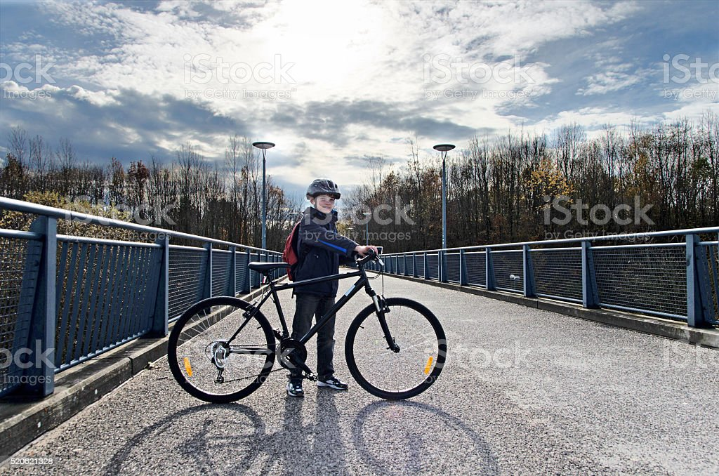 Boy with bicycle on the road royalty-free stock photo