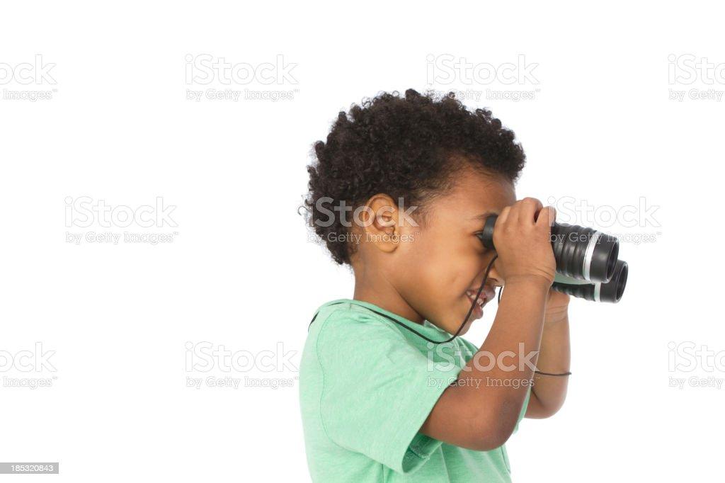 boy with binoculars royalty-free stock photo