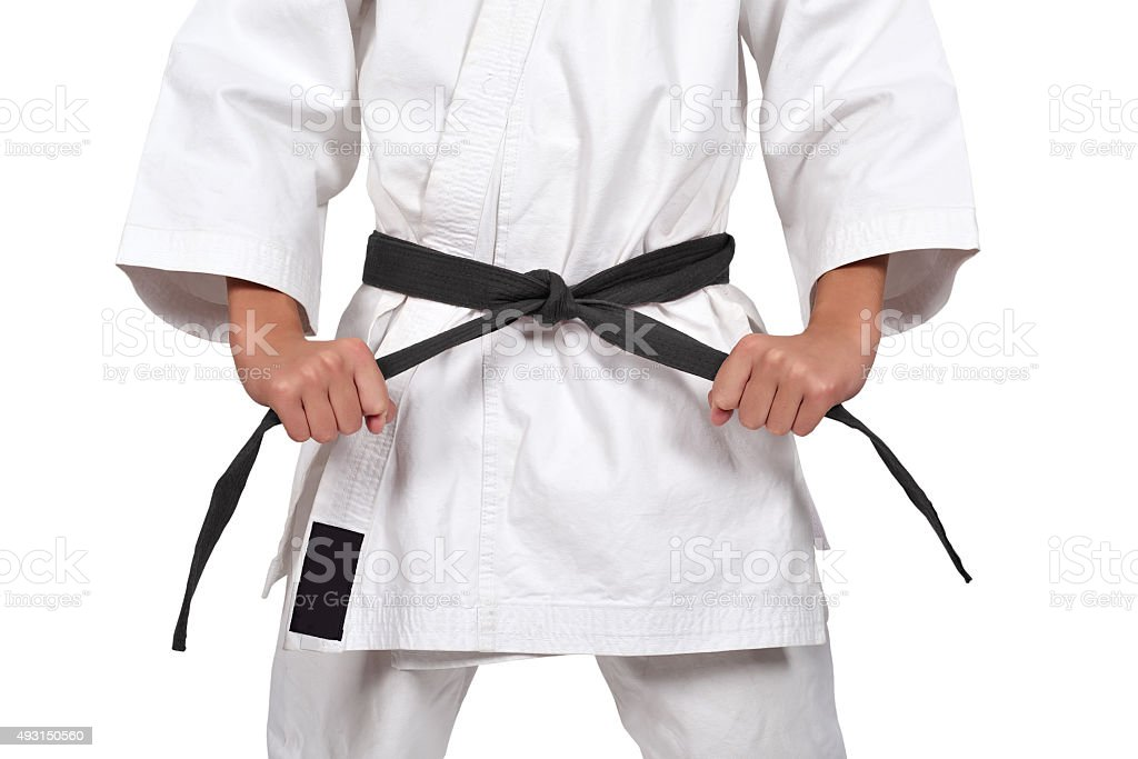 boy with black belt stock photo
