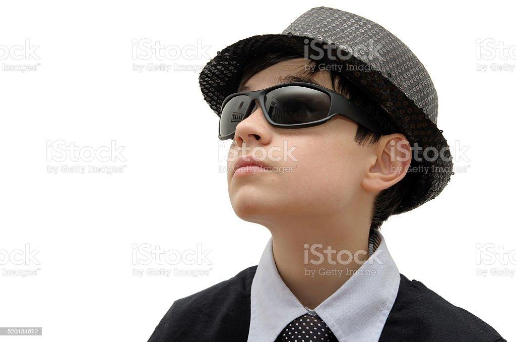 Boy with black sunglasses royalty-free stock photo