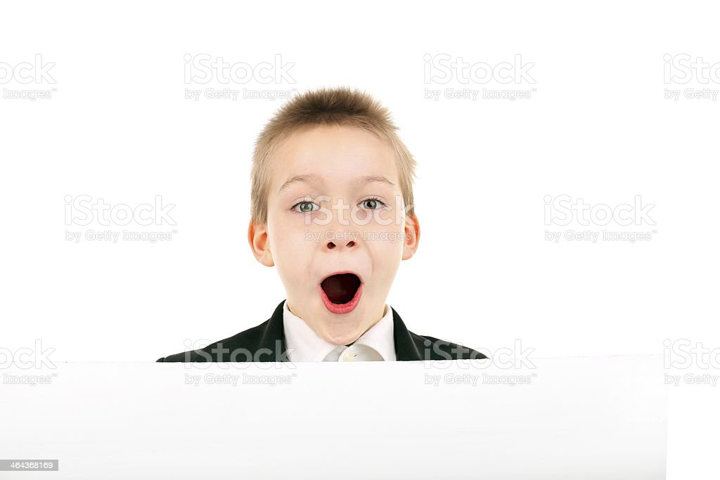 boy with blank paper royalty-free stock photo