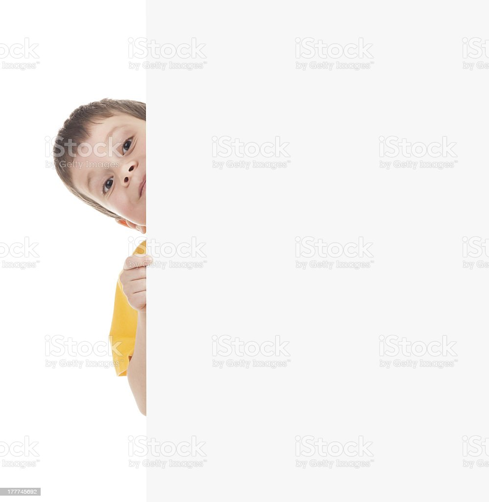 boy with blank paper sheet royalty-free stock photo