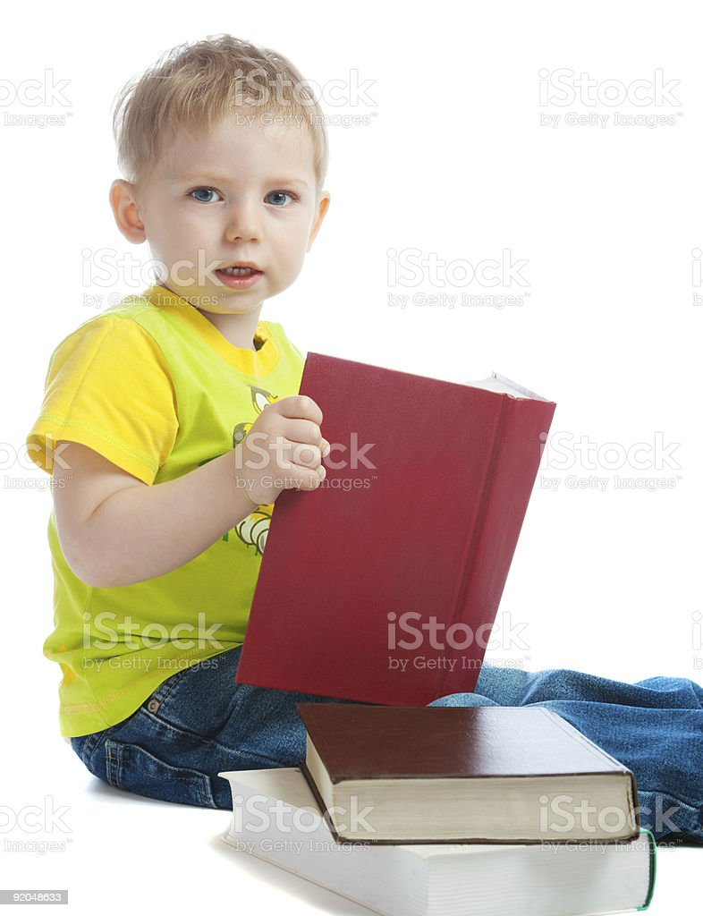Boy with book in hands royalty-free stock photo