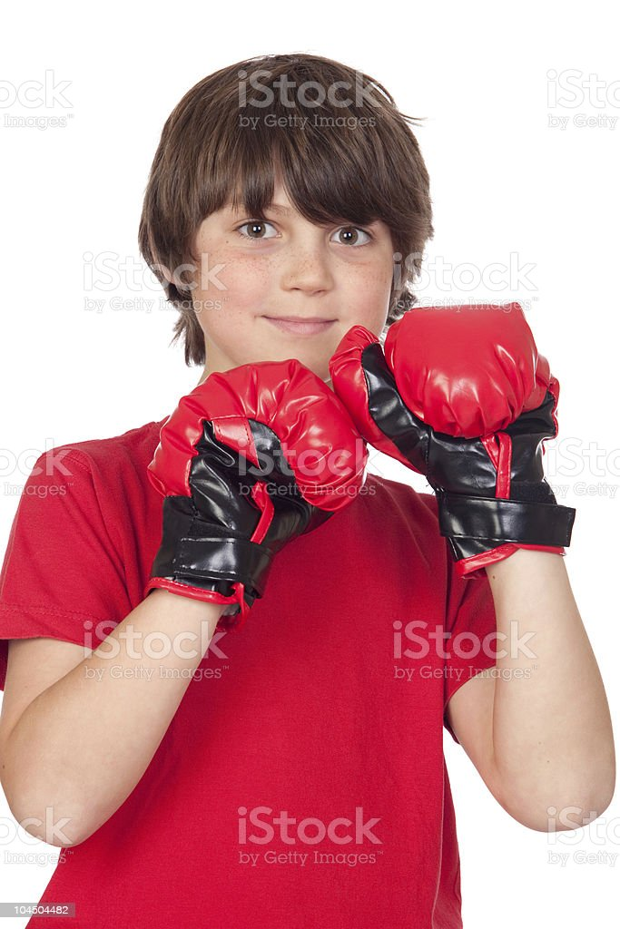 Boy with boxing gloves royalty-free stock photo