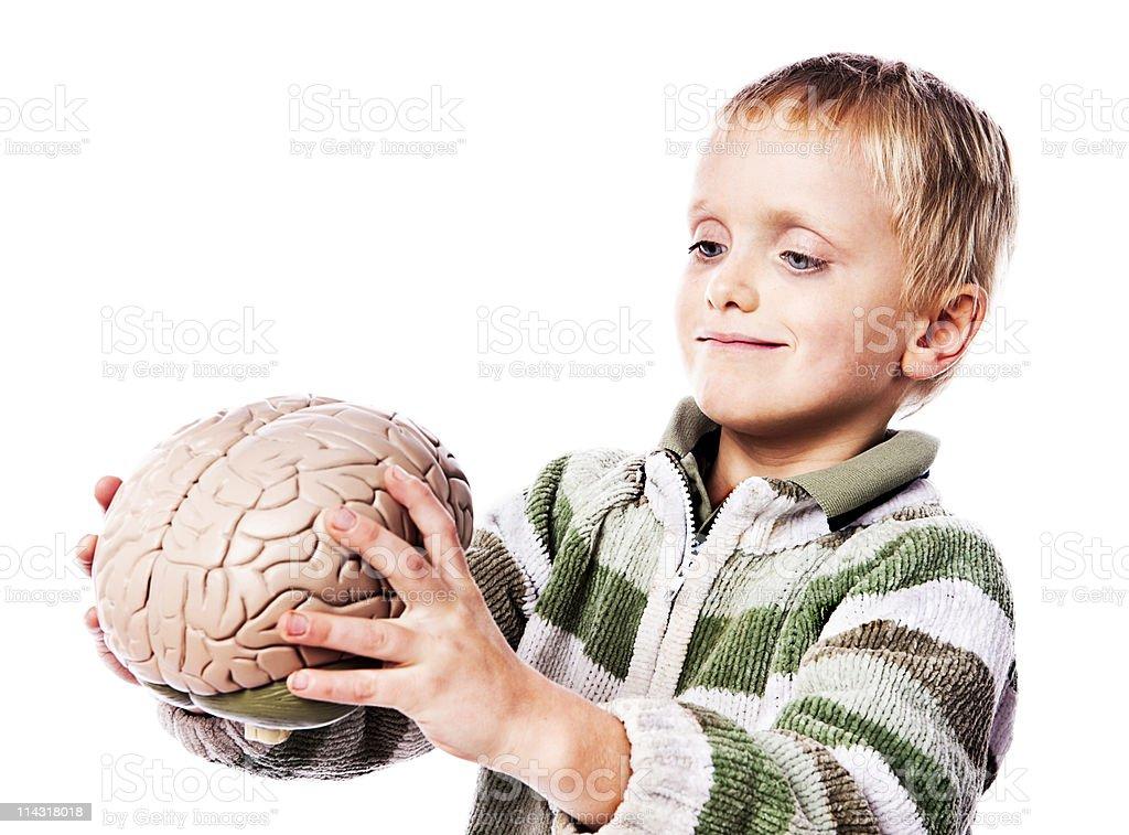 Boy with brain royalty-free stock photo