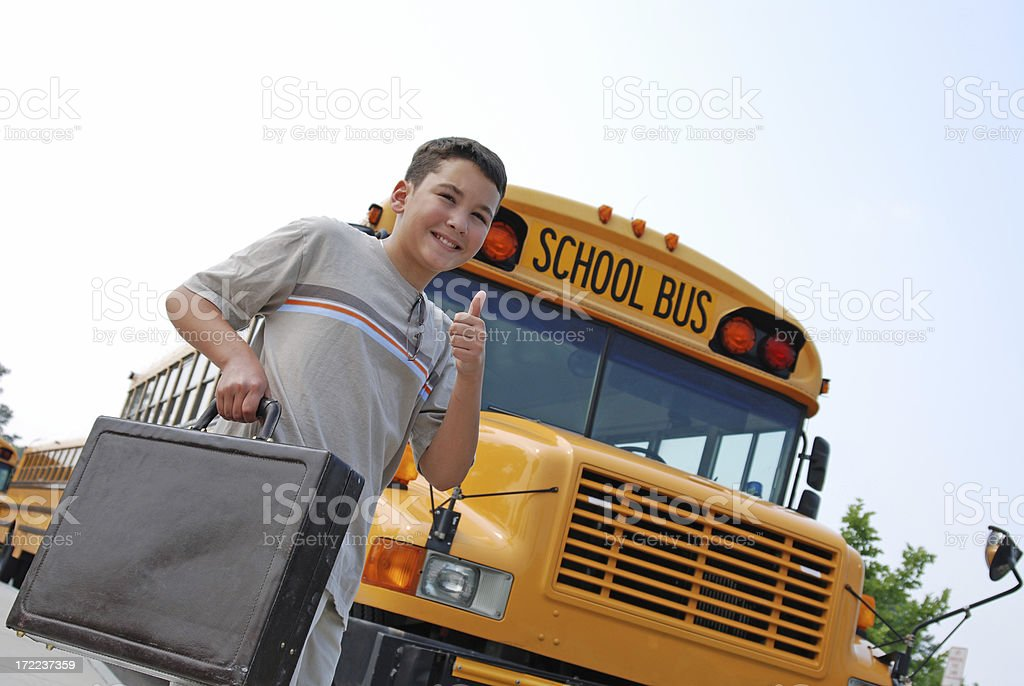 Boy with Briefcase Off to School royalty-free stock photo