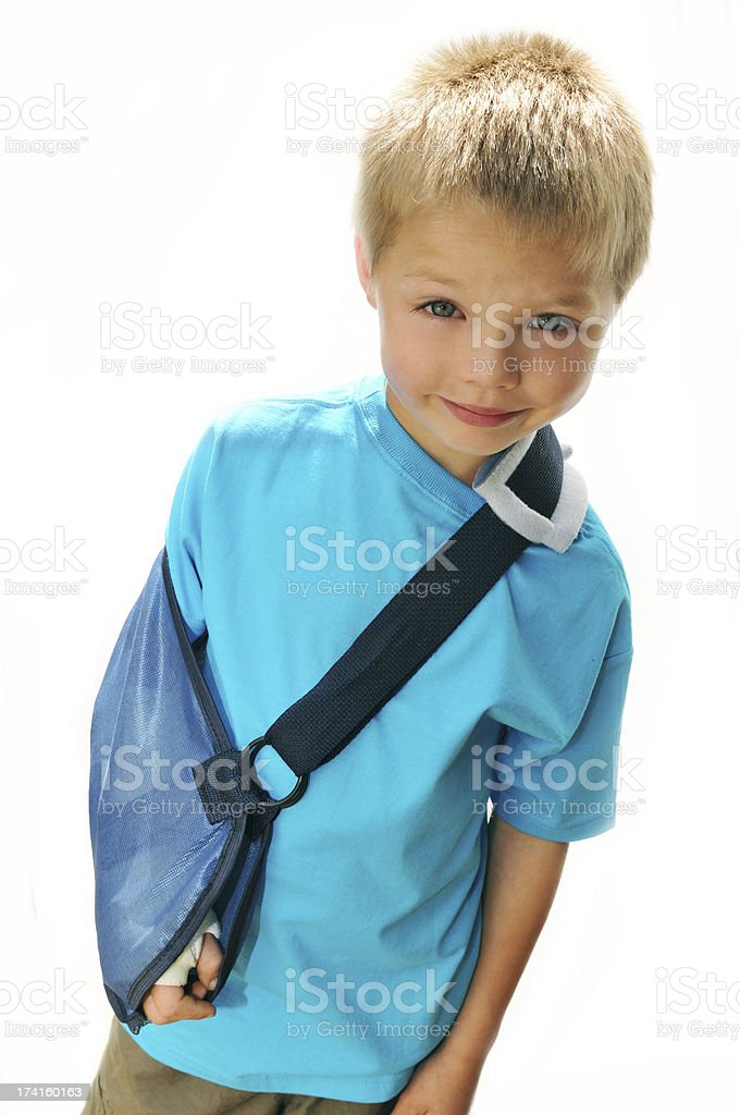 Boy with Broken Arm stock photo