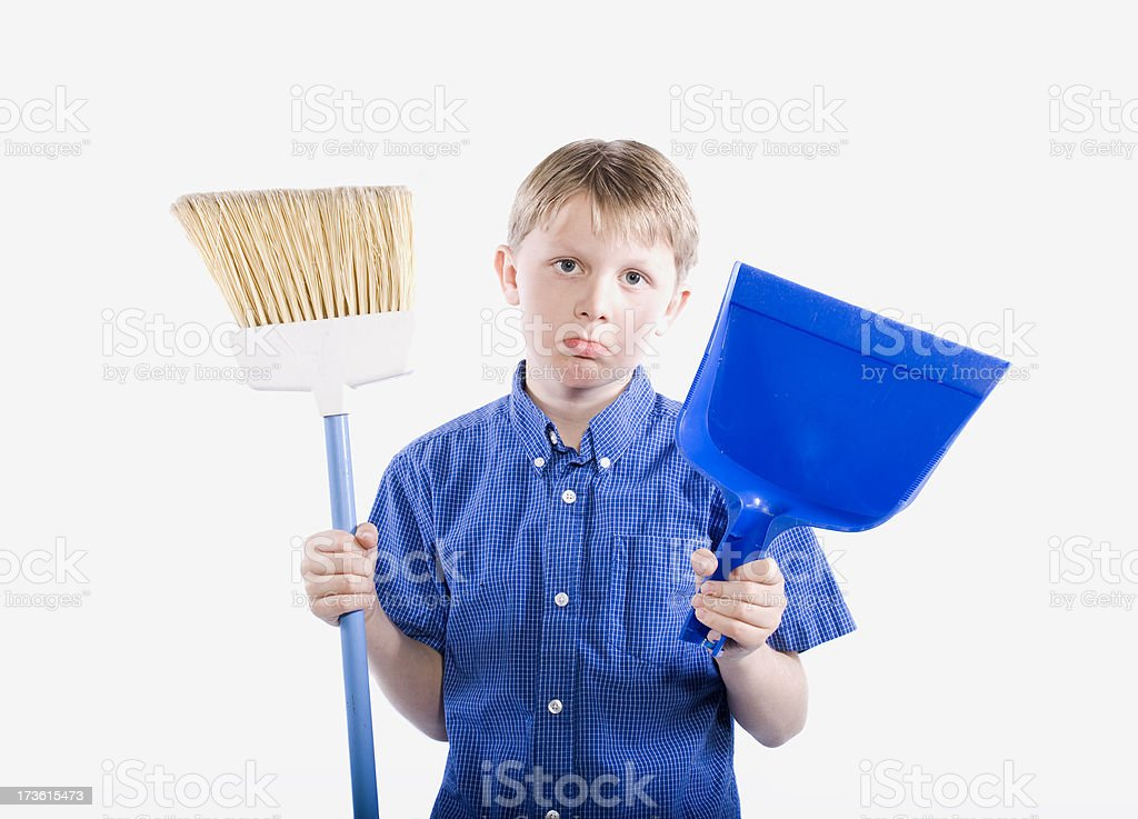 Boy With Broom royalty-free stock photo