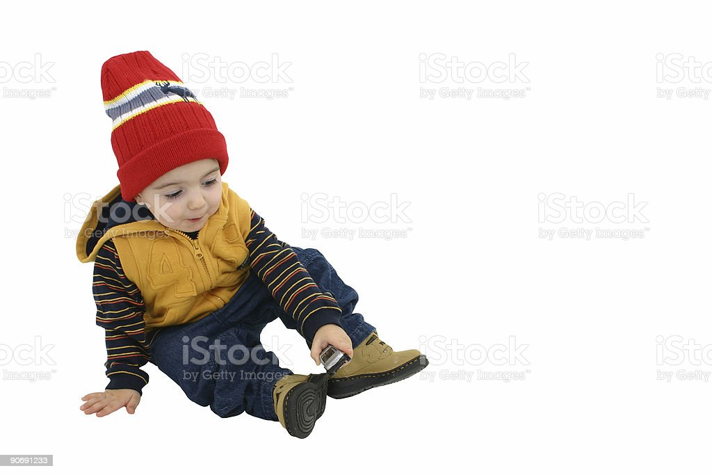 Boy With Car Isolated on White Clipping Path royalty-free stock photo