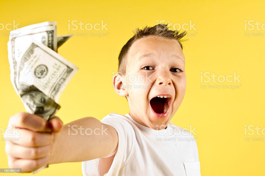 Boy with Cash royalty-free stock photo