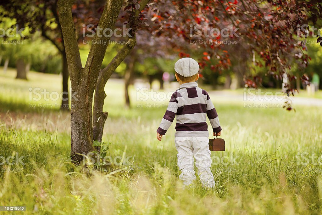Boy with chest in a park royalty-free stock photo