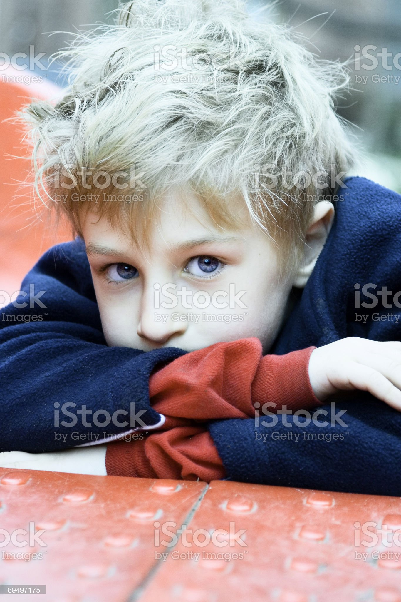 Boy with Crossed Arms-Color Version royalty-free stock photo