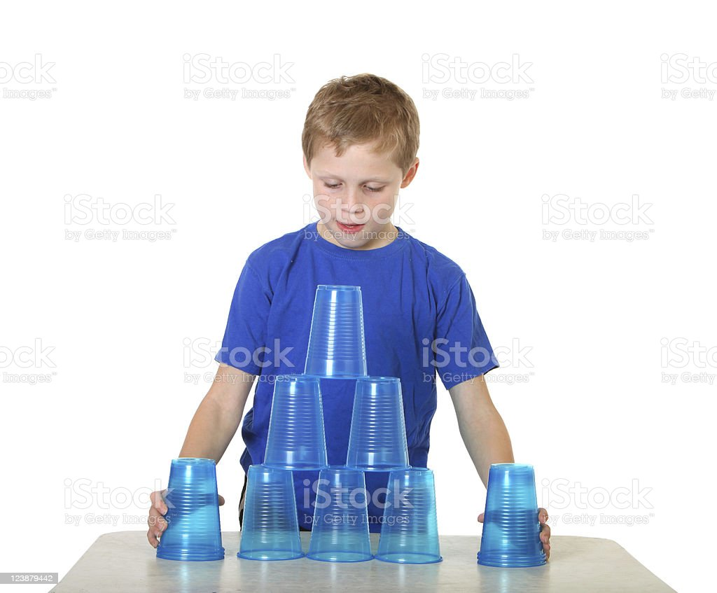 boy with cups royalty-free stock photo