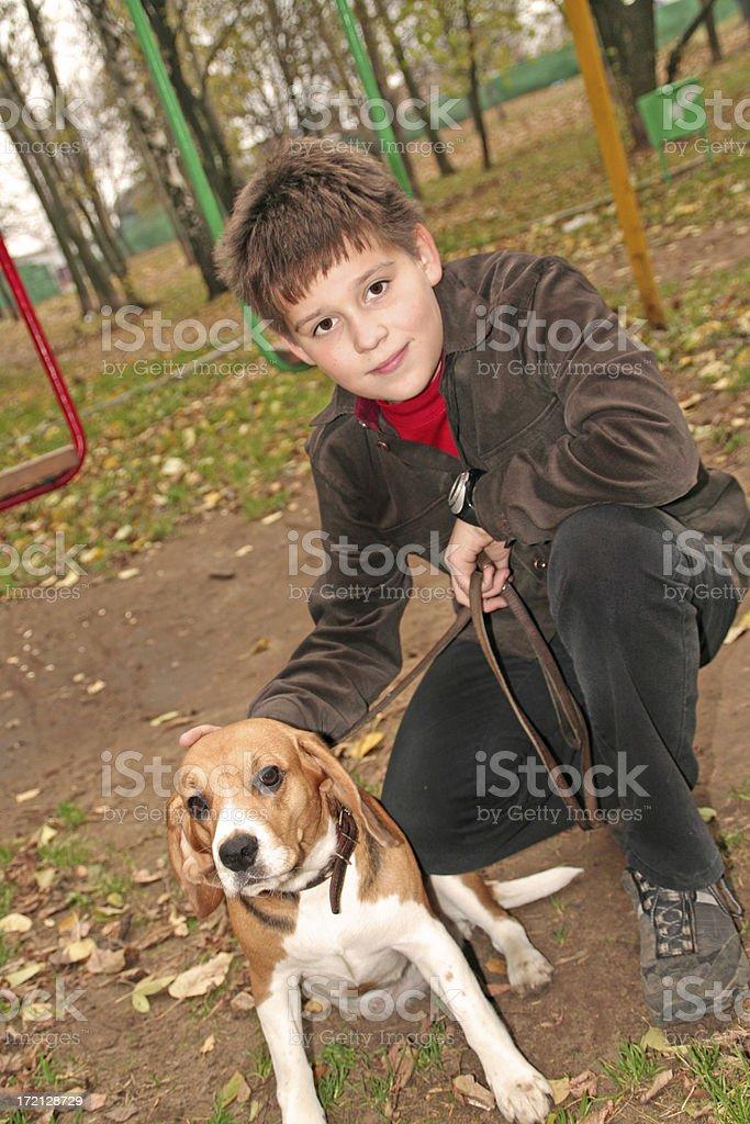 boy with  dog stock photo