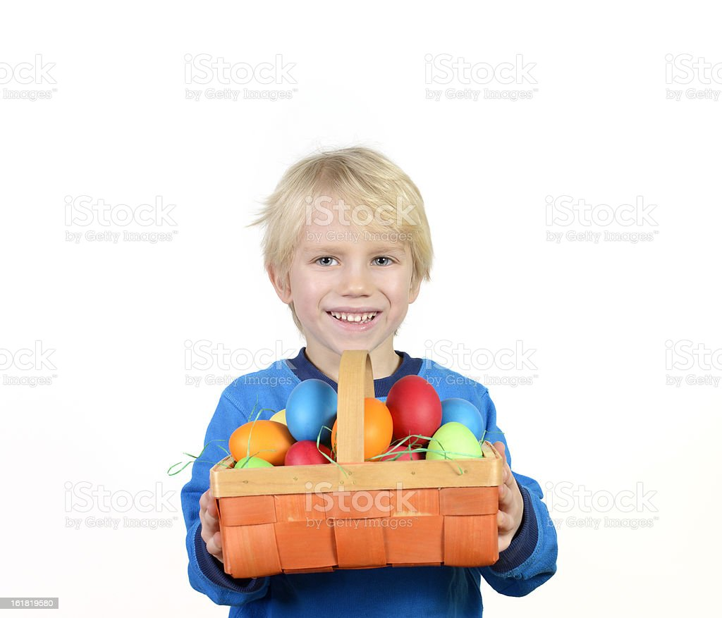boy with easter eggs royalty-free stock photo