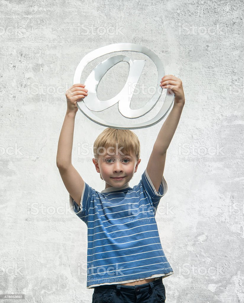 Boy with email stock photo