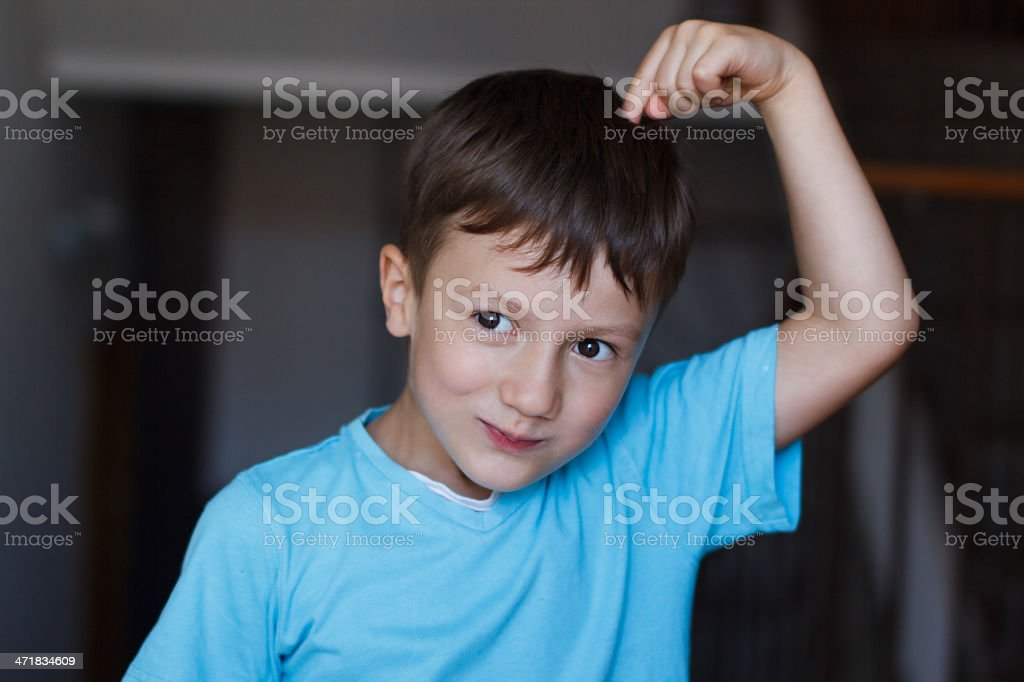 Boy with expression of an idea royalty-free stock photo