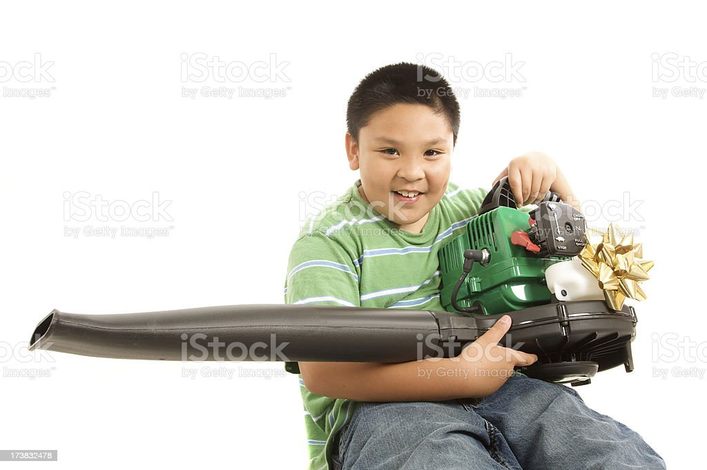 boy with fathers day gift stock photo