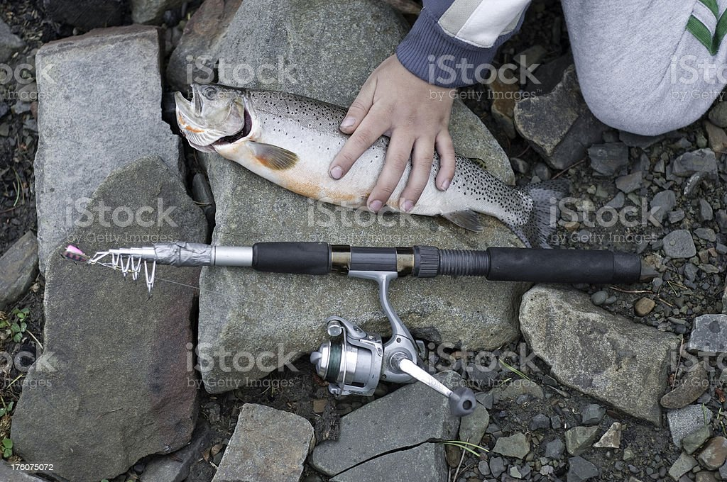 Boy With Fishing Rod and Fish. royalty-free stock photo