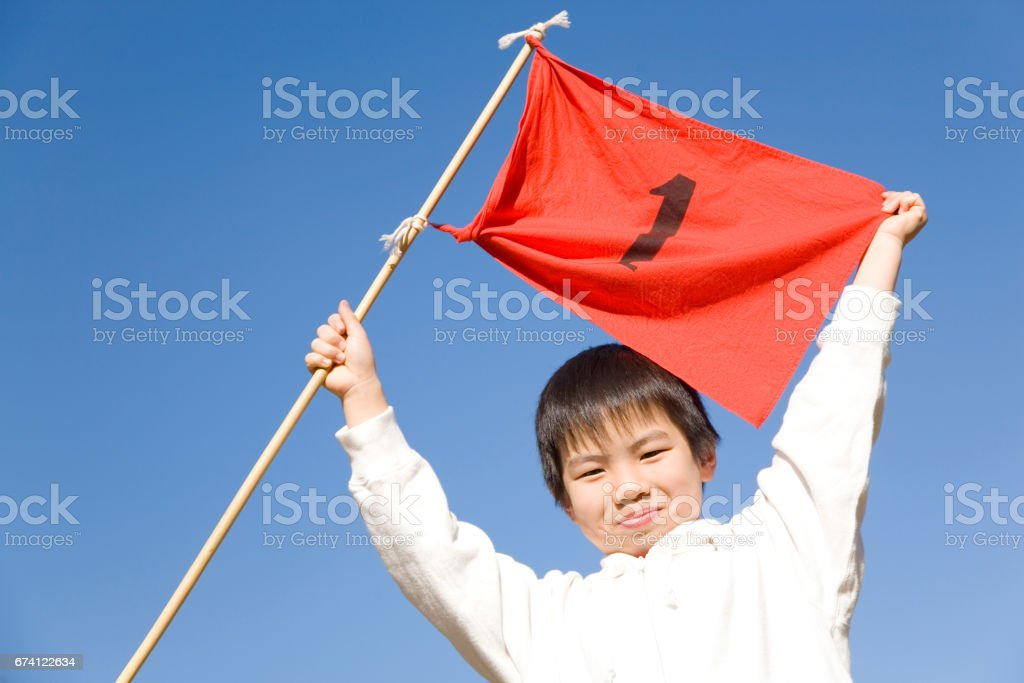 Boy with flag stock photo
