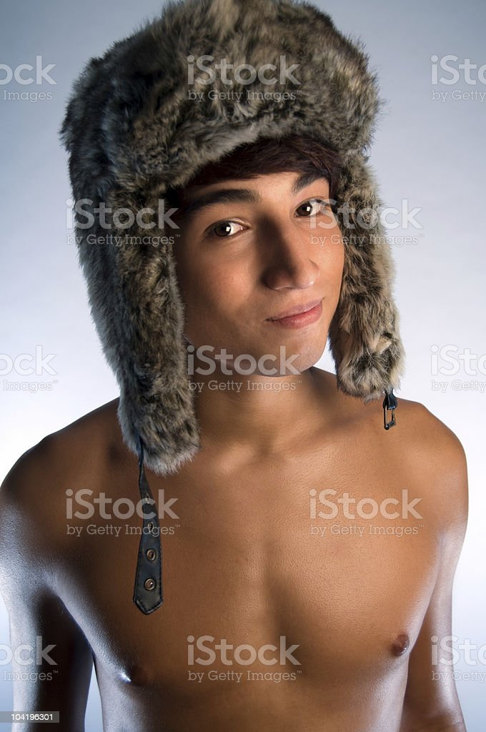 Boy With Furry Hat royalty-free stock photo