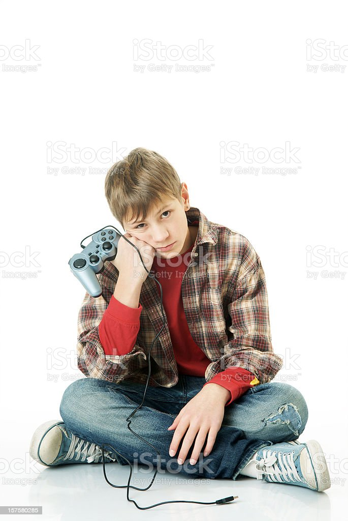 Boy with game pad royalty-free stock photo