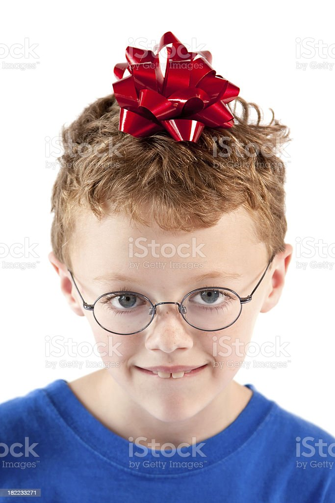 Boy with gift bow on head royalty-free stock photo