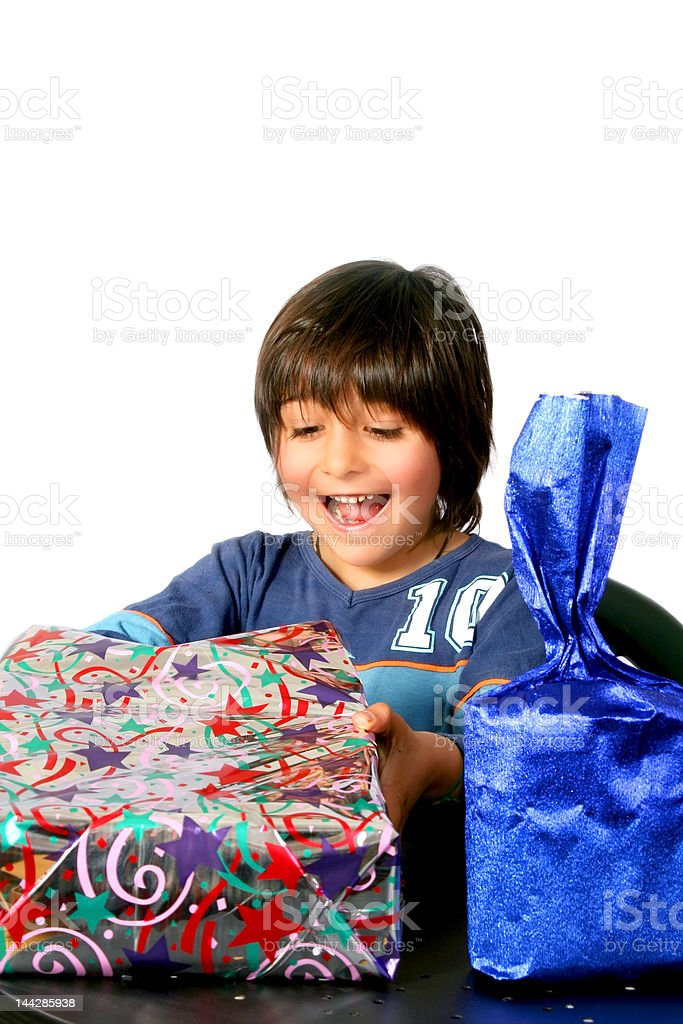 Boy with gifts royalty-free stock photo