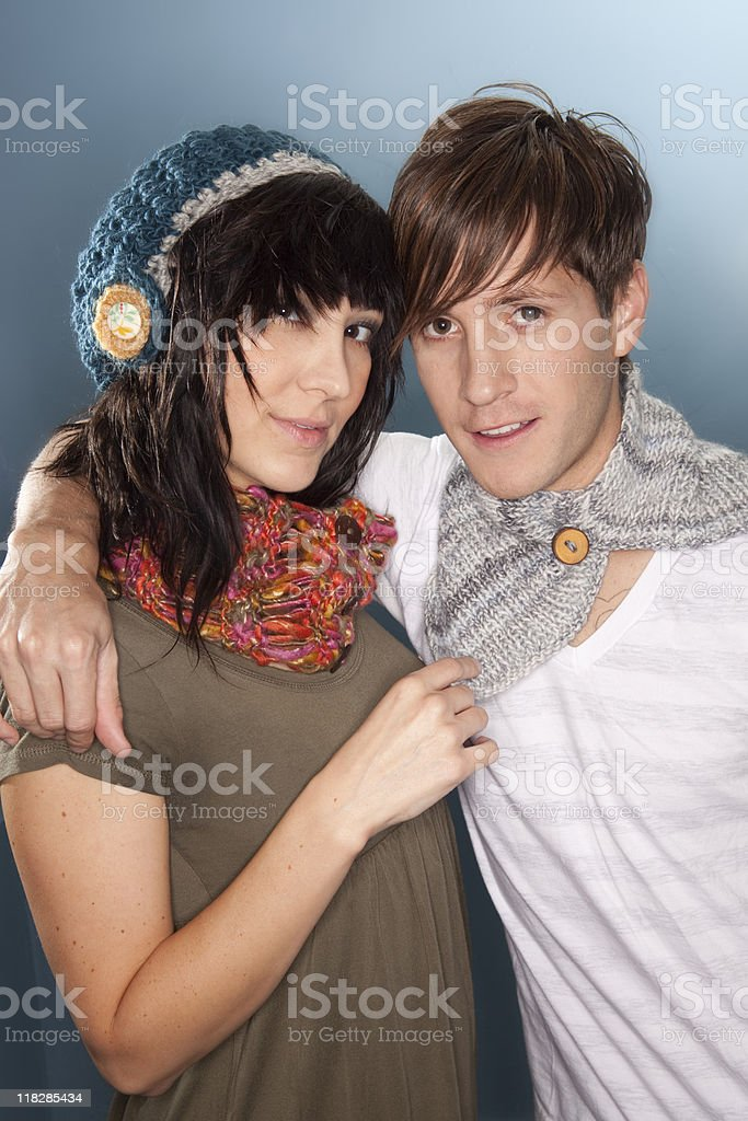 Boy with Girl in Scarf and Hat stock photo