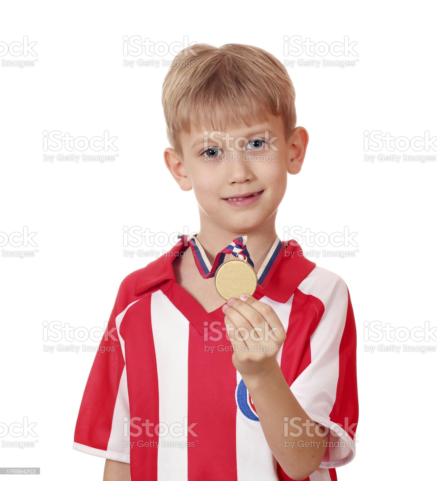 boy with gold medal royalty-free stock photo