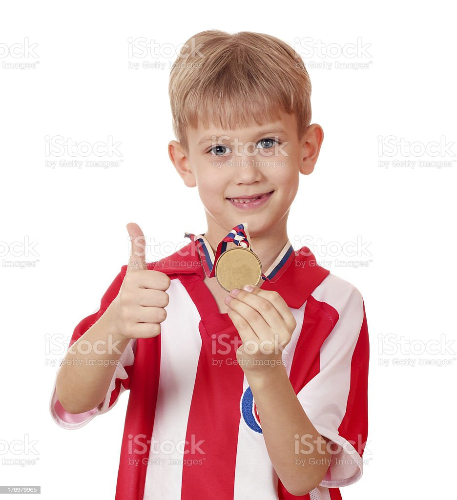 boy with gold medal winner royalty-free stock photo