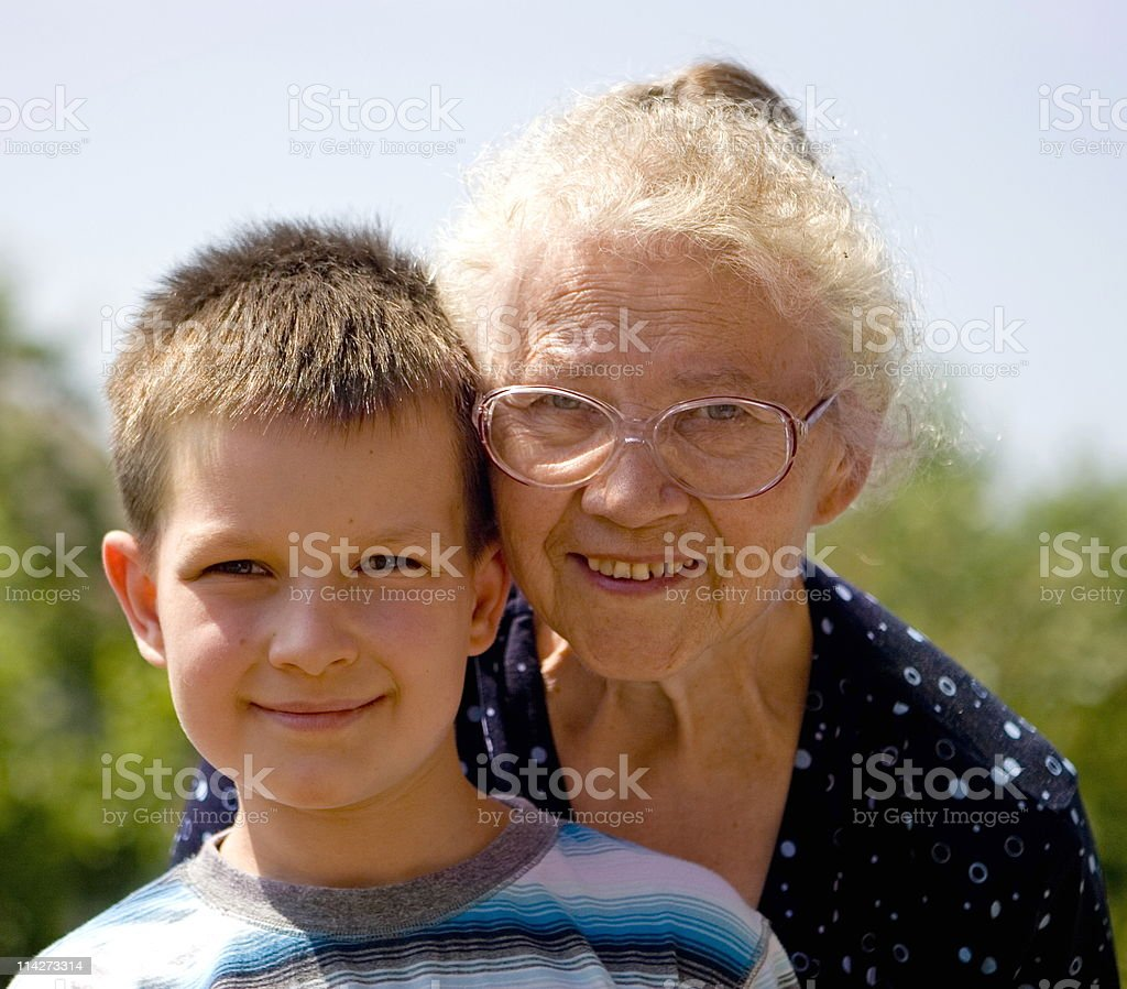 boy with grandma royalty-free stock photo