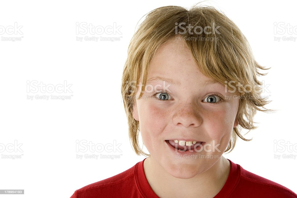 Boy with Great Smile Freckles and Messy Hair Copy Space stock photo
