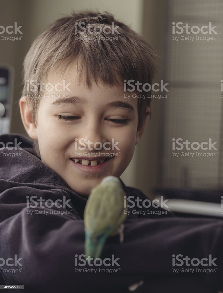 Boy with Green Parrotlet royalty-free stock photo