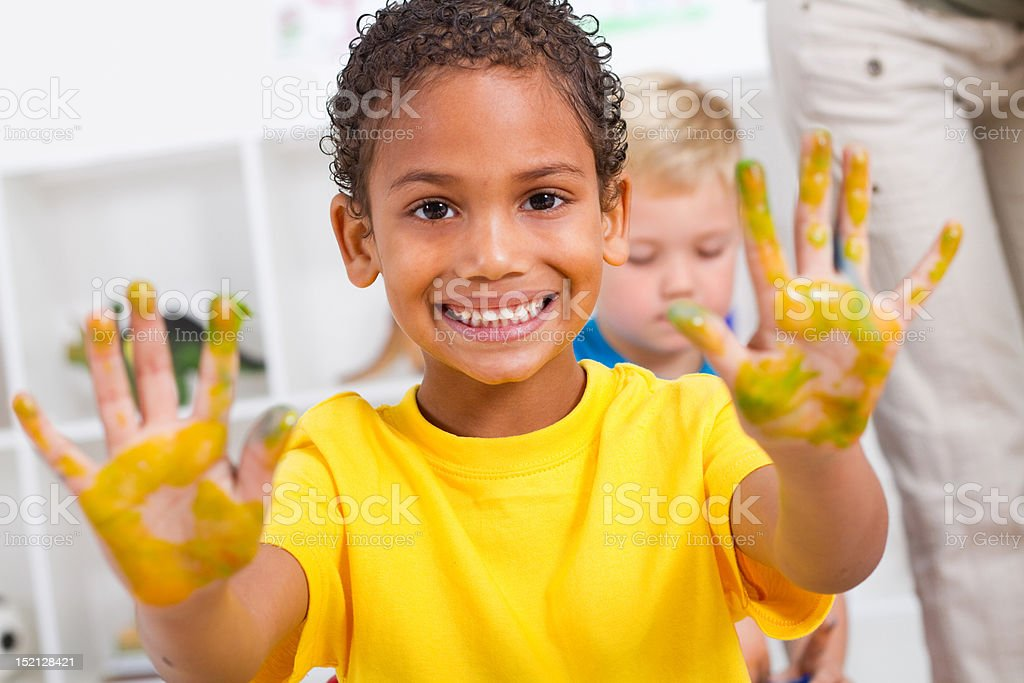 boy with hand paint royalty-free stock photo