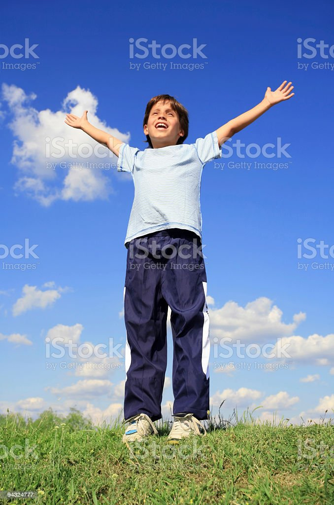 Boy with hands up on meadow royalty-free stock photo