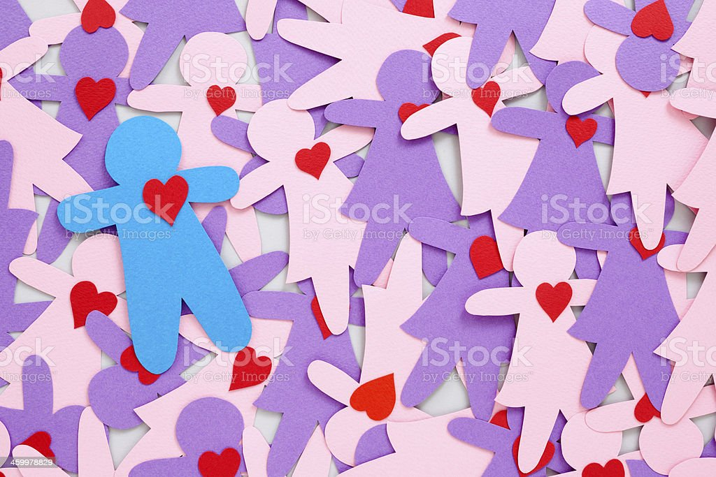 Boy with heart over girls royalty-free stock photo