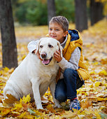 Boy with his dog labrador